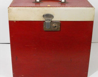 Vintage Red Wooden Record Case Box  (1610)