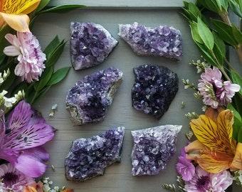 "Small Amethyst Crystal, Natural Geode, Raw Amethyst Cluster, Uraguay Amethyst Specimen >> 1-2"", Medium - Dark Purple"