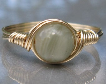 Green Line Jasper Custom Sized 14k Yellow Gold Filled Wire Wrapped Ring