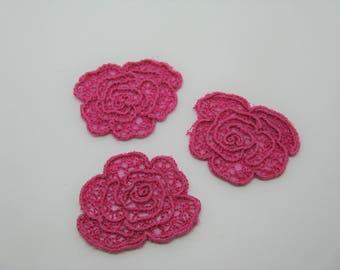 Set of 3 badges applications fusing shape flowers pink-ref 6B