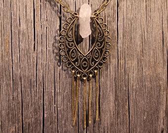Quartz Paisley Brass Spike Necklace