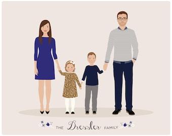 Custom Family Portrait, family illustration, personalized family