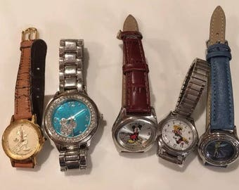 Lot of Disney Wrist Watches ~ Mickey Mouse, Minnie Mouse, Tinker Bell