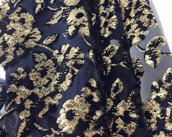 Gold devore velvet silk Haute Couture