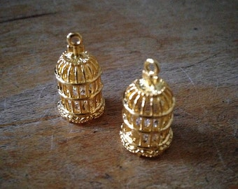 Bird Cage Charms Gold Crystal Pendant Birdcage Charm Pendants Vintage Style Jewelry Supplies (J029)