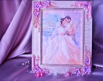 Photo Frame made of Polymer Clay,Handmade Gift,Wedding Accessories,Home Decor