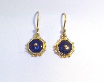 Octagonal Lapis lazuli Pendant shepherds hook earrings in 9 k gold