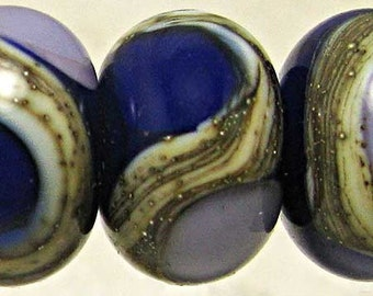 Blue Purple Glass Lampwork Beads. Lampwork Beads, Glass Beads, Rondelle Beads, Glass Lampwork, 6 Small 11x7mm Wolfsbane