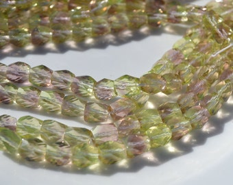 Pale Lemon Yellow and Amethyst 8mm Spiral Faceted Nugget Czech GLass Beads  25
