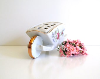Vintage Flower Frog Vase, Flower Cart,Dresden Rose, Made in Germany
