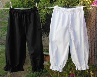 Ready now!  Women's SMALL BLACK Basic Bloomers Frugal Frills No Lace