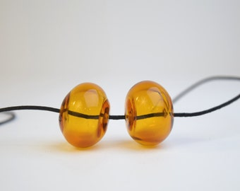 Lampwork hollow beads glass beads for earrings orange hollow bead pair amber beads