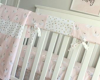 In Stock. Girl Crib Bedding. Swan Blush Pink white gold black