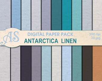 Digital Antarctica Color Linen Paper Pack, 20 printable Digital Scrapbooking papers, winter Fabric Digital Collage, Instant Download, set 82