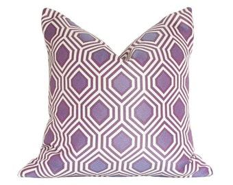 Hexagon Purple Geometric Designer Pillow Cover - Custom Made-to-Order