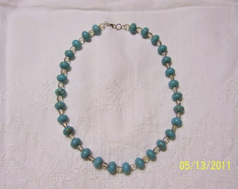 Turquoise Color Magnesite and crystal necklace.