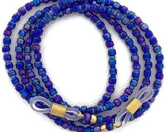 Carnival Glass, Iridescent Cobalt Blue Rainbow Eyeglass Chain, (GL2589)