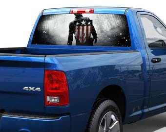 Captain America First Avenger Rear Window Wrap Graphic Decal Sticker Truck SUV