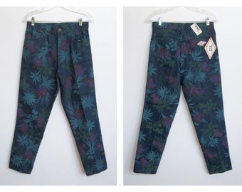 Vintage 1980 - 90s Yes Wear Jeans / High Waisted Floral Print Denim Jeans w/ Original Tags / Never Worn