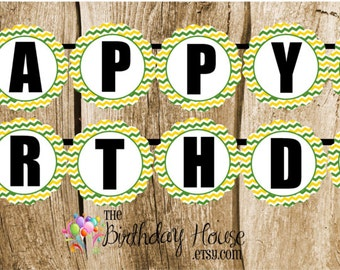 Tractor Party - Custom Green Tractor Happy Birthday Banner by The Birthday House