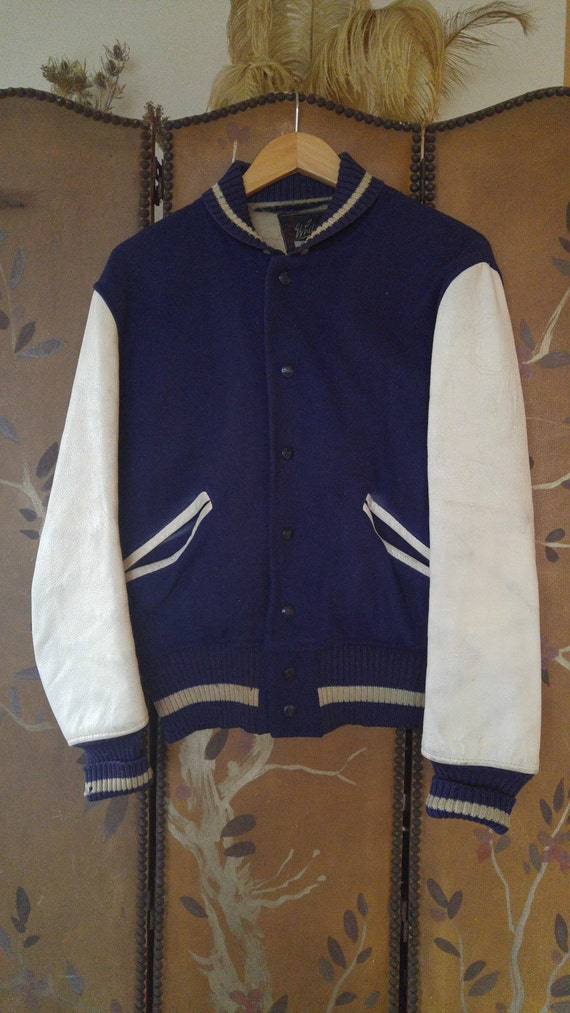 50s navy blue wool Baseball bomber jacket by Whiting Los Angeles 8Nuf3Dzo
