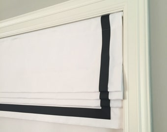 Faux (fake) flat roman shade valance with grosgrain ribbon trim.  White twill cotton fabric, you choose ribbon color.