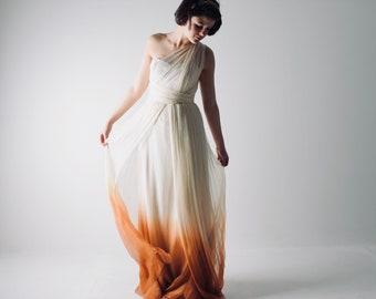 Ombré wedding dress, Boho Wedding dress, Infinity wedding dress, Grecian dress, Bohemian dress,  Beach wedding dress, One shoulder dress