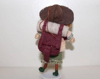 Handmade Felt Art Doll Australian Boy in Expedition