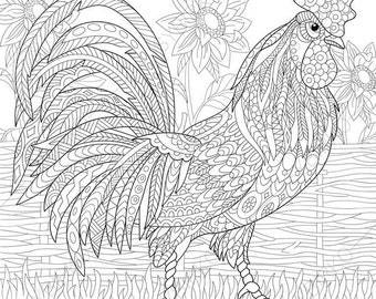 Rooster. 2 Coloring Pages. Animal coloring book pages for Adults. Instant Download Print