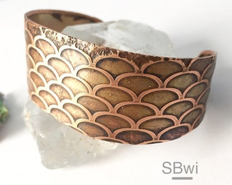 fish scale etched bracelet in copper