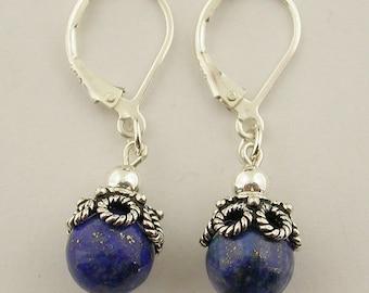 Genuine lapis lever back sterling silver earrings 34