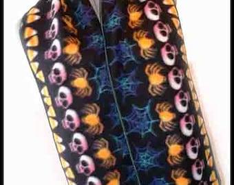 Halloween Stripe Fleece Scarf, Holiday Muffler, Bufanda, Skull, Candy Corn, Spiders & Cob Webs