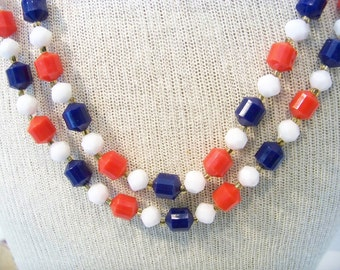 Old Glory Signed Hong Kong 1960s Red White Blue Plastic Beaded Necklace Patriotic Jewelry Vintage Patriotic Jewelry