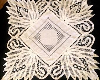 Edwardian Battenburg Lace Doily Table Throw Large Doily White Cotton Early 1900s Linens White Work