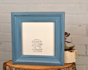 8x8 Square Picture Frame in Scully Style with Vintage Black under Smokey Finish - IN STOCK Same Day Shipping - 8 x 8 Photo Frame Blue