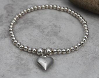 Heart Bracelet - Heart Gift - Silver Heart - Friendship Bracelet - Best Friend Gift - Girlfriend Gift - Gift For Her - Love Jewellery