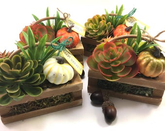 3 available  Choice mini wood crate basket faux handmade succulent arrangement Fall Autumn decor grateful thankful blessed or happy harvest