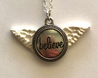 Angel Wing Jewerly Believe Hand Sculpted Angel Wing Necklace  Precious Wings by Pam