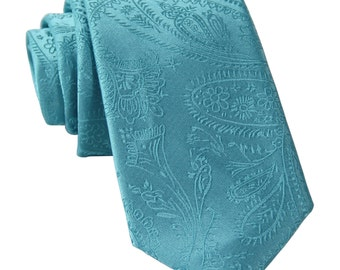 "New Men's Paisley Turquoise 2.5"" Necktie, for Formal Occasions"