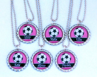 Girl Soccer Party Favors Girl Soccer Necklace Sports Party favors for girls Birthday Gifts - Custom Name Custom Color