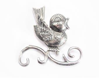 Vintage Lang Sterling Bird Brooch