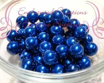 10mm Royal Blue Acrylic Pearl Beads Qty 50