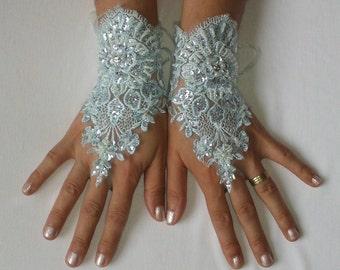Aqua Blue beaded Wedding gloves, bridal lace gloves fingerless gloves something blue french lace birdesmaid gift gauntlets guantes