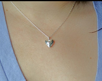 The PASSIONATE HEART - fine silver heart necklace with hammered finish and sterling silver chain