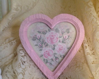 Shabby Cottage Chic  Decor Hand Painted Pale Pink Victorian Rose Heart Framed Wall Art