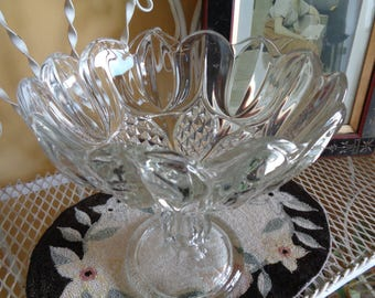 Vintage, Antique Pedestal Glass Compote, EAPG Clear Glass Comport