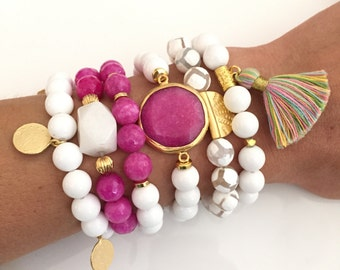 Beaded Bracelet Stack - Pink  - Choose individually or purchase entire stack as pictured