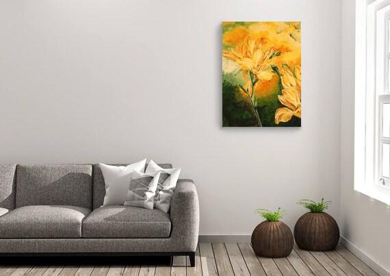 Articoli simili a olio su tela dipinto floreale pittura for Pittura salone