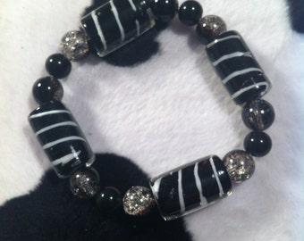 Lampworked Glass Bracelet - Black