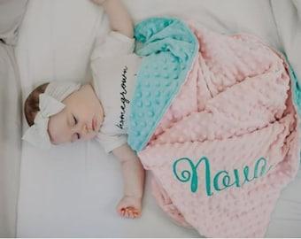 Personalized Blanket - Blush & Aqua Minky Baby Blanket